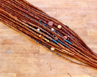 """40x Fiery Autumn Reds Single Ended Handmade Synthetic Dreadlocks Dreads with DELUXE Beads and Wraps Half Head Set - 28"""""""