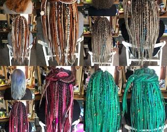 "Custom For Sarah - Full Head Textured set Custom Handmade Single End Dreadlocks inc braids with Wraps and Beads - 26""-"