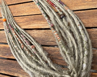 """13 (26) x PREMADE Natural / Dirty Blonde Short 13"""" Handmade Double Ended Synthetic Dreadlocks Dreads with Wraps & Beads Halfhead Accent set"""