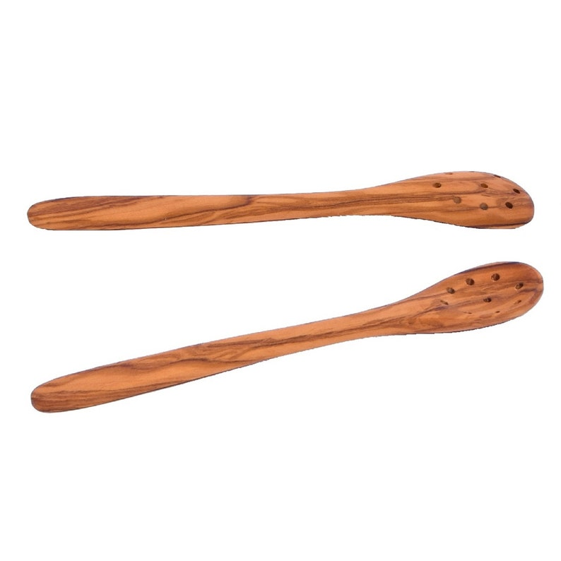 Spoon For Olives With 9 Holes 20 Cm 787 Handcrafted In Albania Skandwood Wooden Pierced Spoon