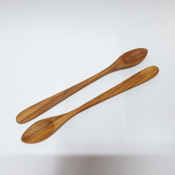 8 inch Olive Wood Round Head Soup/&Cooking Spoon Kitchen Utensil Tee Coffee Spoon