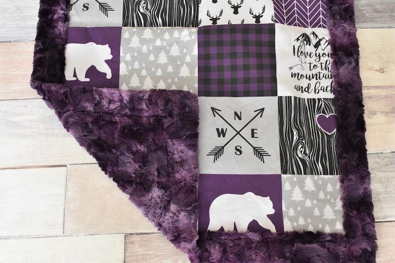 Purple Bear Blanket Purple Baby Blanket Baby Shower Gift Girl Deer Blanket Purple Woodland Blanket Minky Blanket Purple Nursery