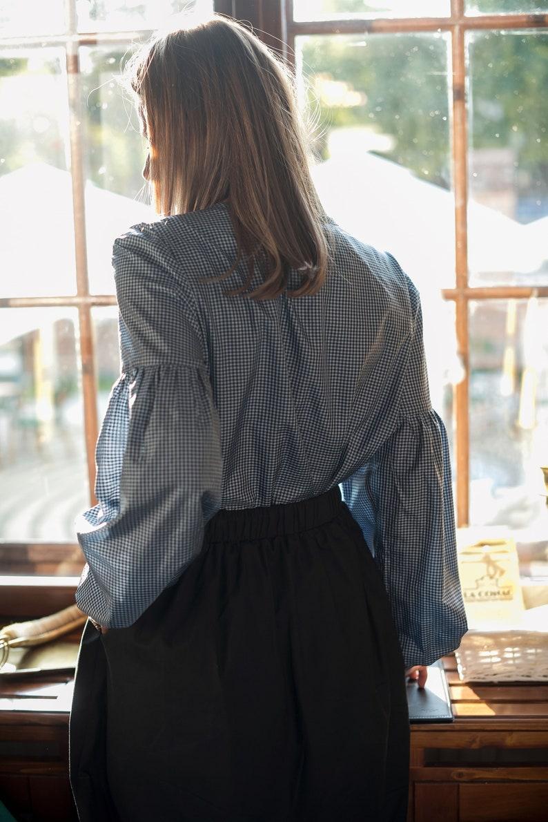 c72a94251d1e8 Silk blouse. Puff sleeves black silk blouse. EXCLUSIVE elegant