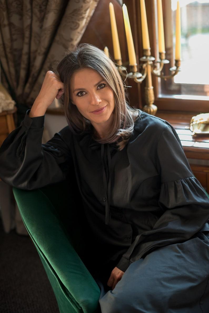 bae0d43e7efb4 Silk blouse. Puff sleeves black silk blouse. Silk organic