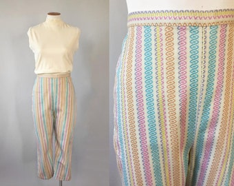 63ec5fbba06 Vintage 1960s New Old Stock NOS rainbow spiral high waisted pedal pushers  capri pants Small S