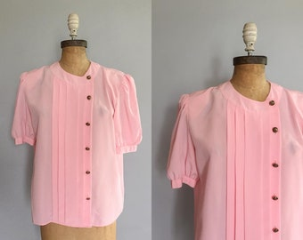 2d6ec0aebef1d6 Vintage 1980s 80s pink puffed sleeve double breasted side button blouse  medium M large L