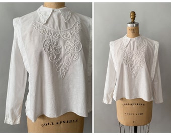 Antique Vintage 1910 Edwardian White Cotton Embroidered Peplum Blouse