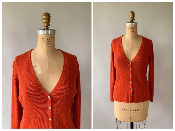 Vintage 1990s orange ribbed knit button down fitte