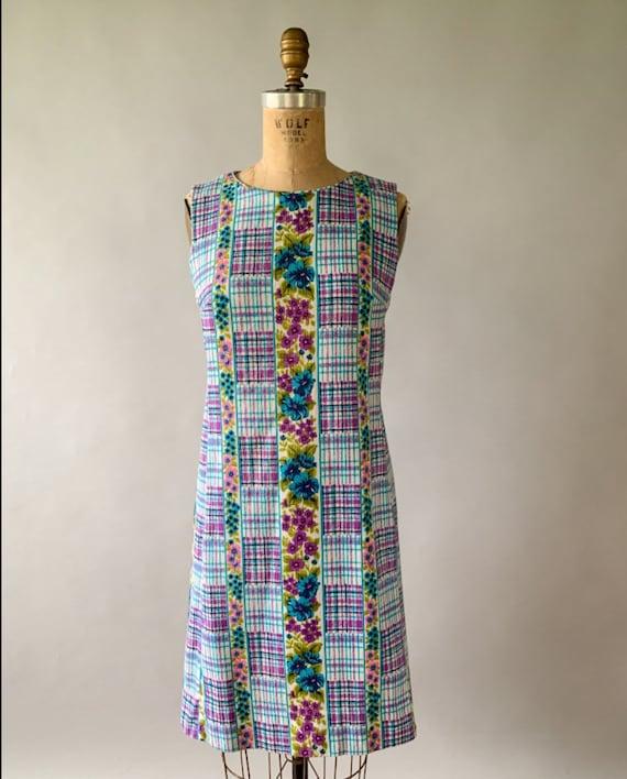 Vintage 1960s rainbow floral plaid patchwork slee… - image 3