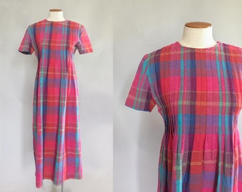 Vintage 1990s colorful rainbow madras plaid linen midi market dress / 90s dress / small S size 4 petite