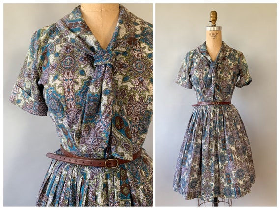 Vintage 1950s 1960s blue, green, & brown paisley m
