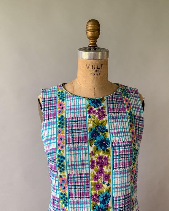 Vintage 1960s rainbow floral plaid patchwork slee… - image 8