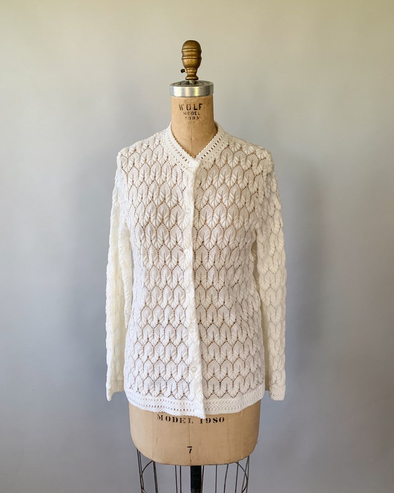 Vintage 1960s cream sheer lightweight scalloped pointelle crochet sweater  60s winter white lacy cardigan  Small S