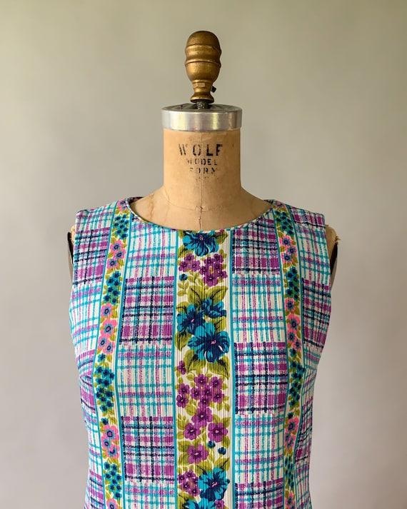 Vintage 1960s rainbow floral plaid patchwork slee… - image 4