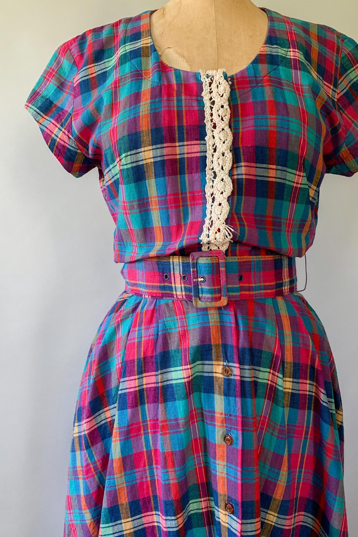 Vintage 1980s Rainbow Madras Plaid Crochet Lace Trim Fit