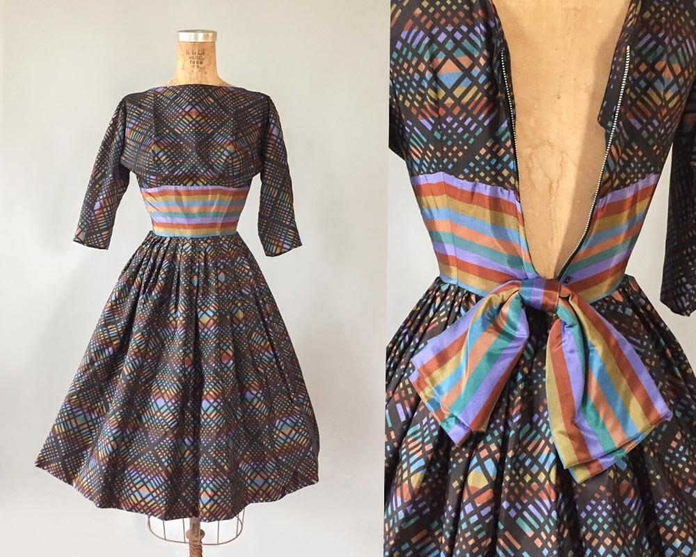 c8fc7efc6 Vintage 1950s 50s rainbow plaid irridescent taffeta party prom dress Extra  Extra Small XXS XS 22 23 24 waist