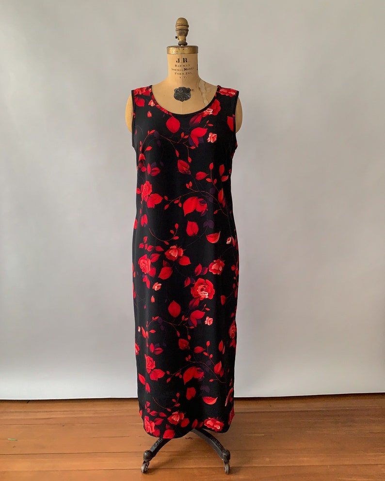 Vintage 1990s vintage black and red rose print sleeveless maxi dress  90s floral maxi dress  Valentines day dress large L