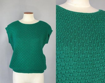 Vintage 1980s emerald green popcorn knit oversized short sleeved cropped dolman sweater / 80s sweater / small S medium M