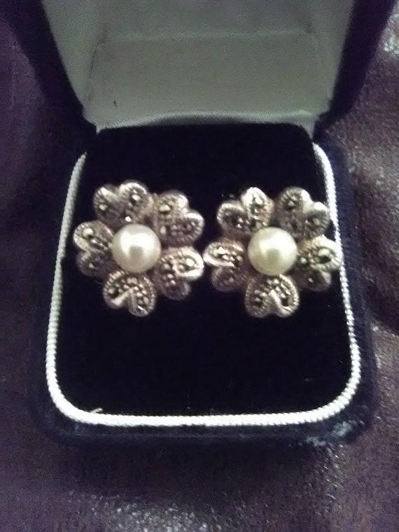 925 flower Earrings