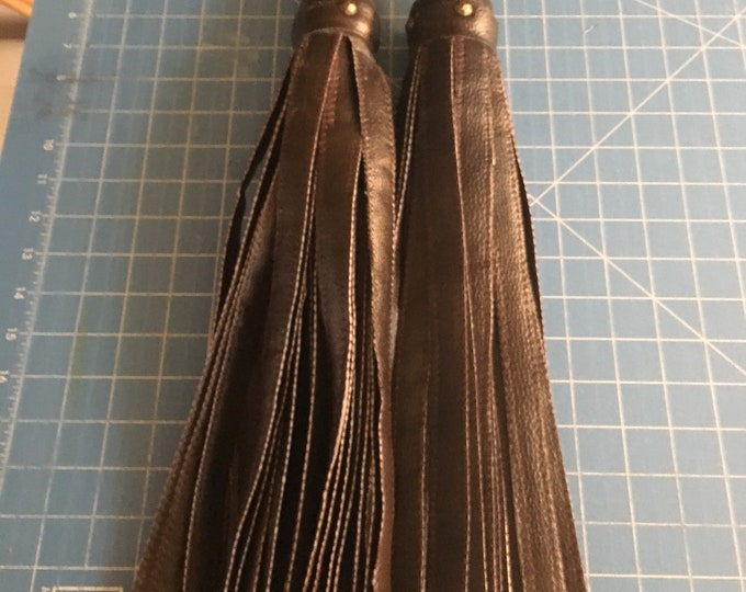 Brown matching pair of BDSM Vegan Leather floggers Florentine set  for Femdoms, Submissives and Impact Players