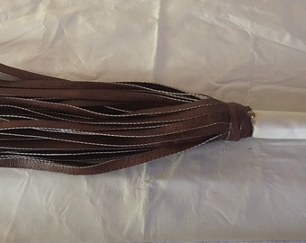 BDSM Vegan Leather Flogger -  Brown and Cream - Femdom - impact play - sex toy