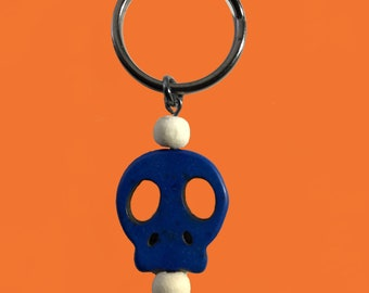 Blue skull calavera keychain