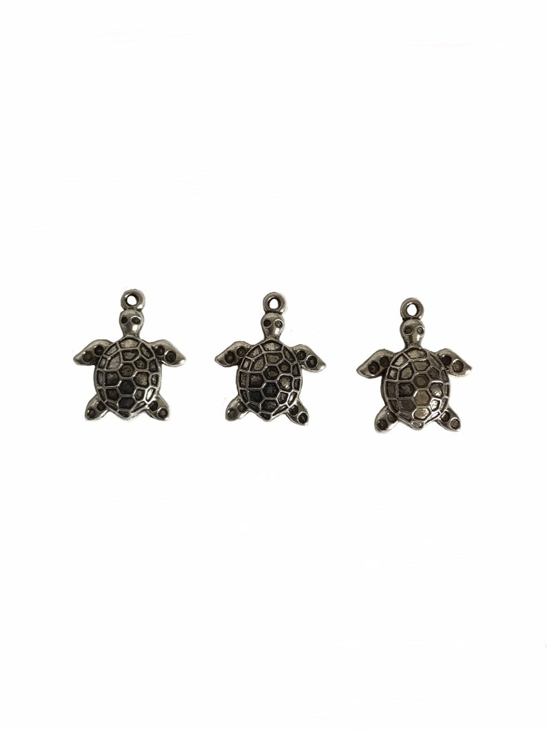 25 Zinn antike Farbe Schildkröte Charms