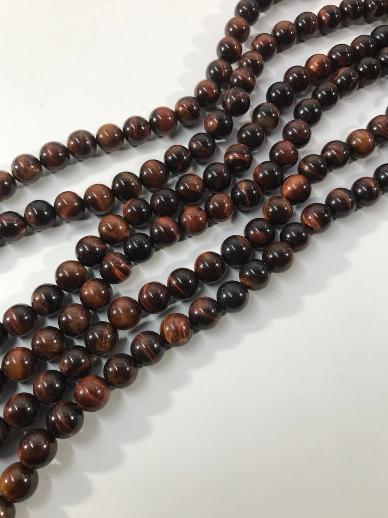 Blue Red Mixed Genuine Tiger Eye Beads 8mm