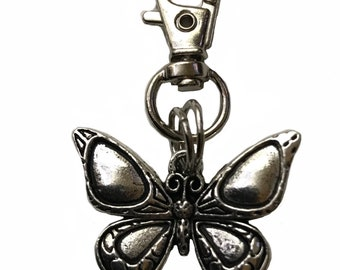 Pewter Butterfly on Swivel Clasp keychain Zipper Charm