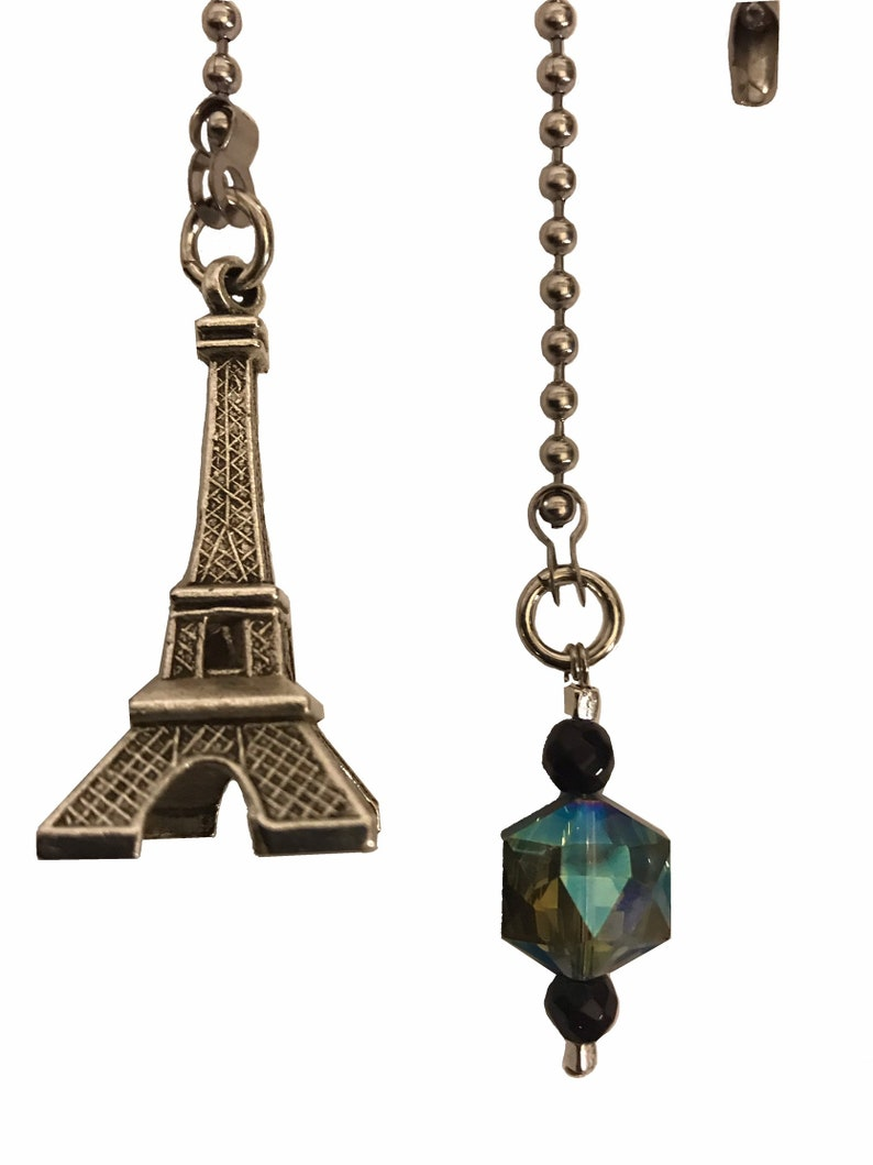 Paris Theme Eiffel Tower /& Crystal Blue sun Catcher Ceiling Fan Light Pull Chain
