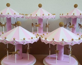 Carousel Centerpiece Package - pink, white, gold