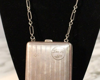 1912 Sterling Silver Pocketbook Necklace Engraved with December 25, 1912. One of a kind, Special gift!