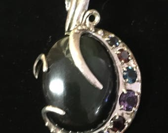 1980's Sterling Silver Onyx with Multi Color Gem Stones Enhancer Pendant