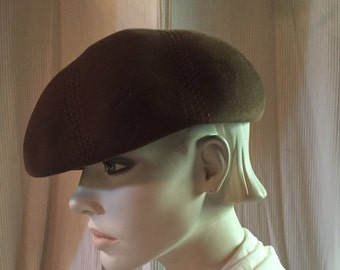 c8aa38bf 1960s Beret Made in Great Britain Chocolate Brown Wool Felt Beret ~ Lady  like Model
