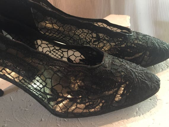 b36b62664c 1950s Stuart Weitzman Vintage Black Lace Pumps with Heels | Etsy