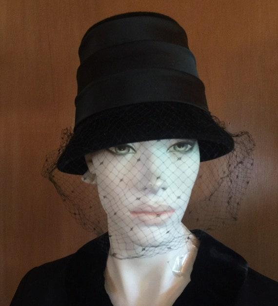 1960s Velour Satin Hat Veil - Very Audrey Hepburn
