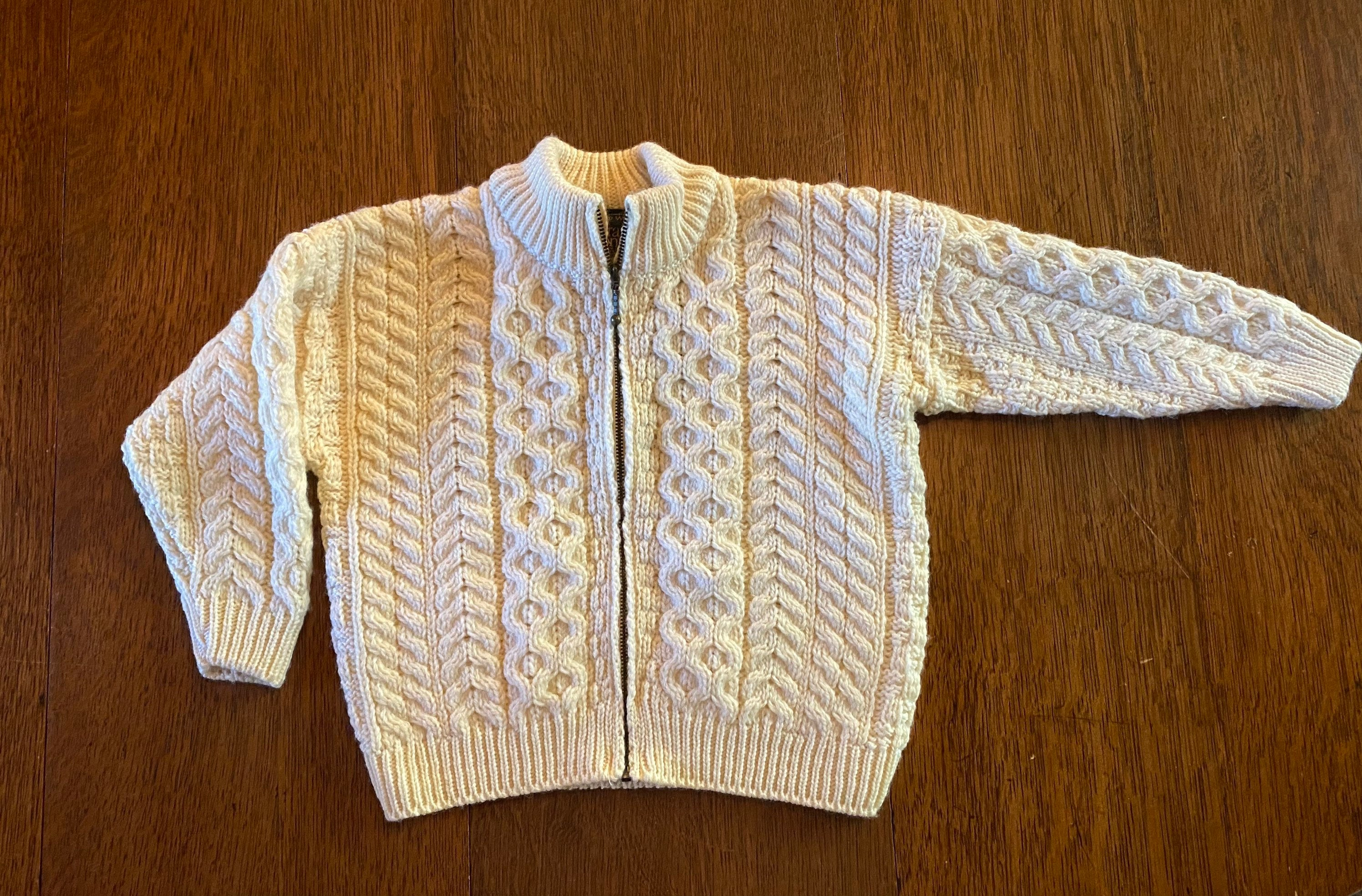 80s Sweatshirts, Sweaters, Vests | Women Merino Wool Childs Cardigan Sweater Age 6 To 8 Years Old Carraig Donn Made in Ireland New With Tags Never Used $59.00 AT vintagedancer.com