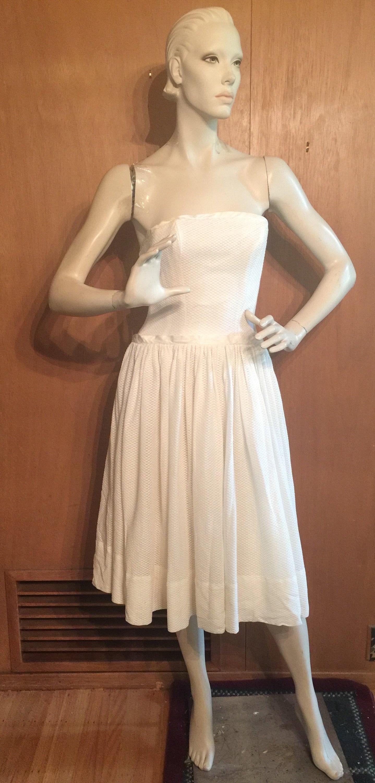 1950s Hats: Pillbox, Fascinator, Wedding, Sun Hats Reduced - Lanz Strapless Drop Waist Dress Circa 1950S Size SmallPetite - Flattering Fit- Designer Vintage $0.00 AT vintagedancer.com