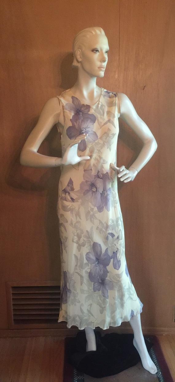 Sleeveless Floral Mid Calf Chiffon Dress - circa 1