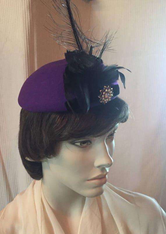 Liz Claiborne Vintage Purple Wool Felt Fascinator Hat with  1a17ae02b2c