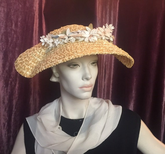 circa 1910-1930s Natural Straw Fascinator Hat EXTR