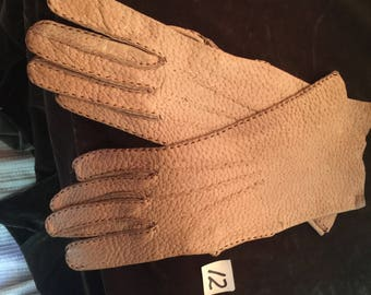 1930's Vintage Beige Leather Driving Gloves Size 6 1/2