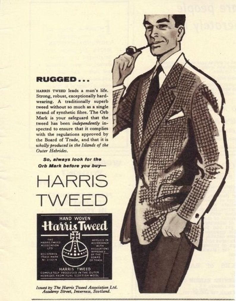 Harris Tweed Herringbone Sports Jacket Coat Size 40 Handwoven Pure Scottish Wool circa 1970s
