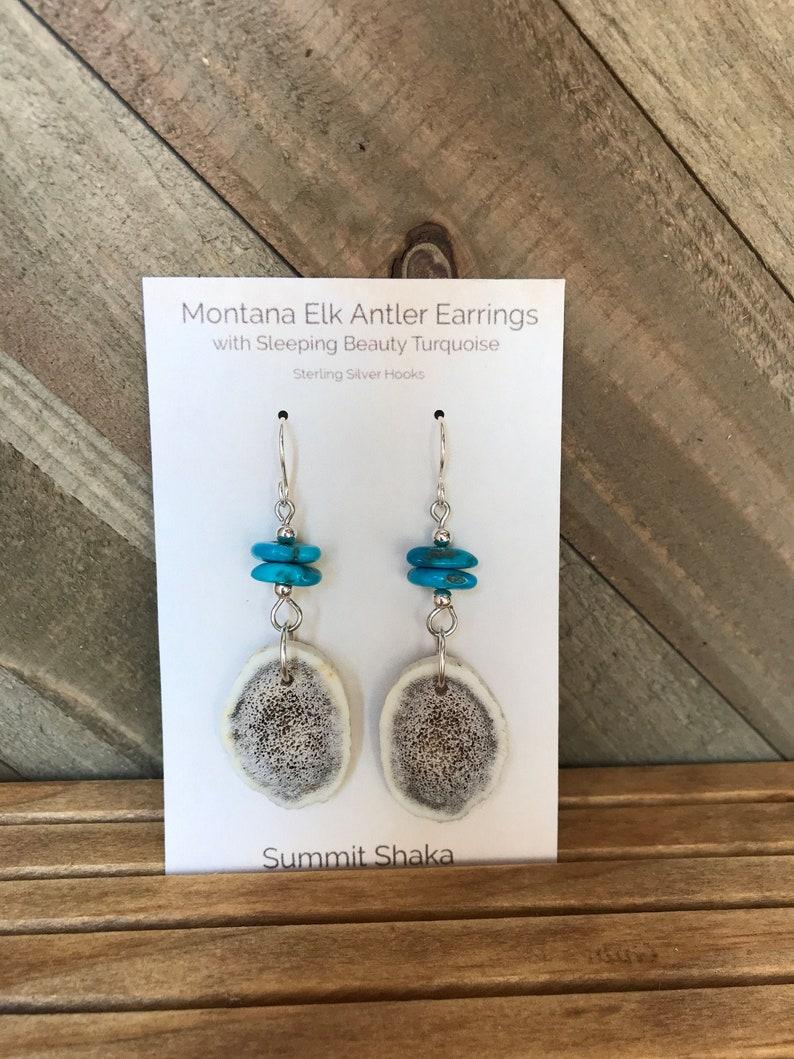 Montana Elk Antler Earrings with Sleeping Beauty Turquoise image 0