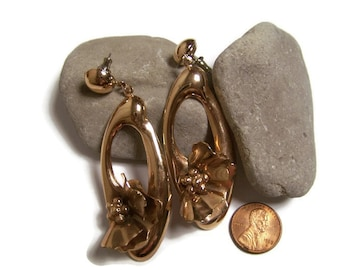 Large Vintage Brass tone Floral Dangle Pierced Earrings Gift for her Statement Earrings