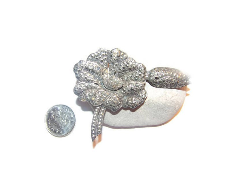 96bb3584f Large Vintage flower marcacite brooch made in France | Etsy