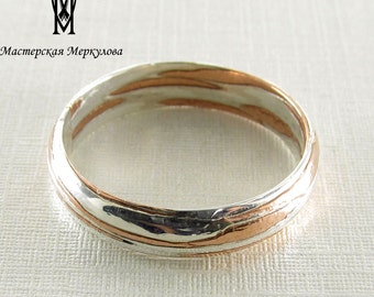 Mokume Gane Ring Sterling Silver Wedding Rings , Mokume Gane