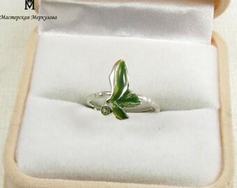 ENAMEL Green Leaf Handmade STRETCH  Ring 925 with enamel elements and natural peridot gemstone