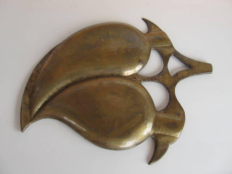 Vintage Brass Leaf Ashtray