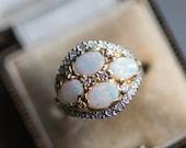 70s Vintage opal diamond ring, gold engagement ring, antique white stone jewellery, jewelry girlfriend anniversary birthday wife girlfriend
